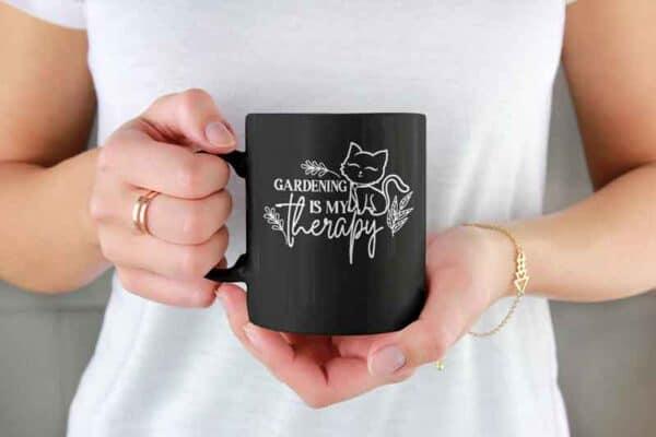 Gardening Is My Therapy CAT black Mug