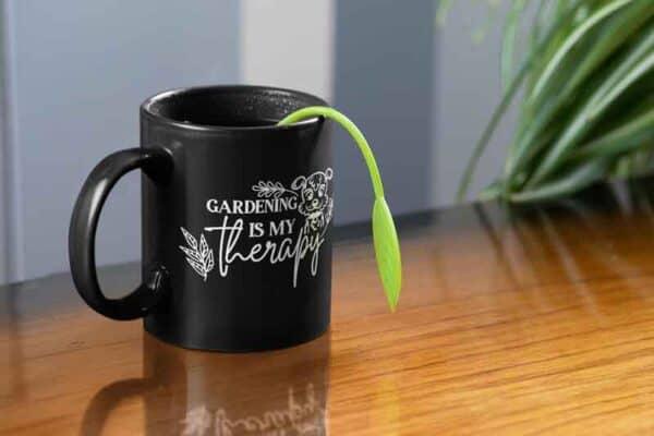 Gardening Is My Therapy dog black Mug