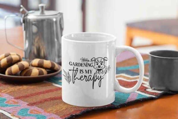 gardening is my therapy puppy dog coffee mug