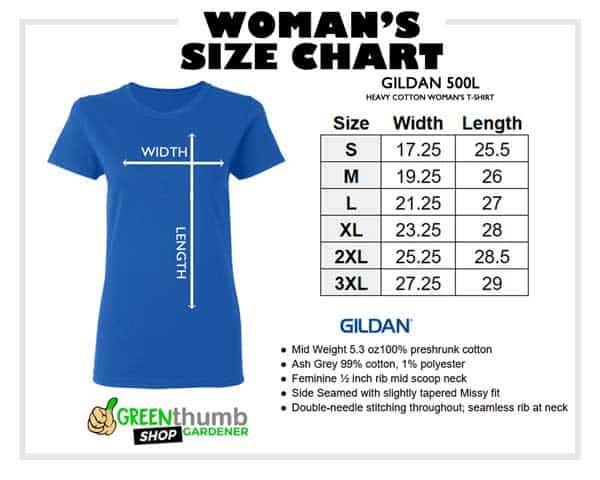 womans size chart Gildan 500L