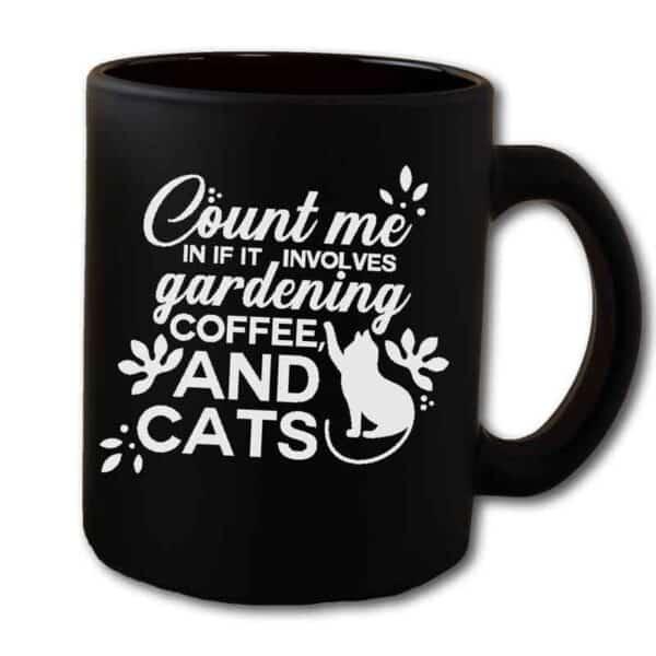 Count Me in Gardening Cat Black Mug