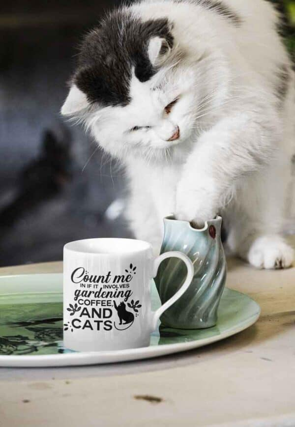 Count Me in Gardening Cat White Mug