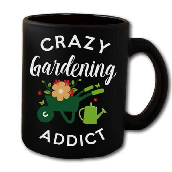 Crazy Gardening Addict Black Coffee Mug