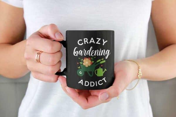 Crazy Gardening Addict Black Coffee Mug Woman
