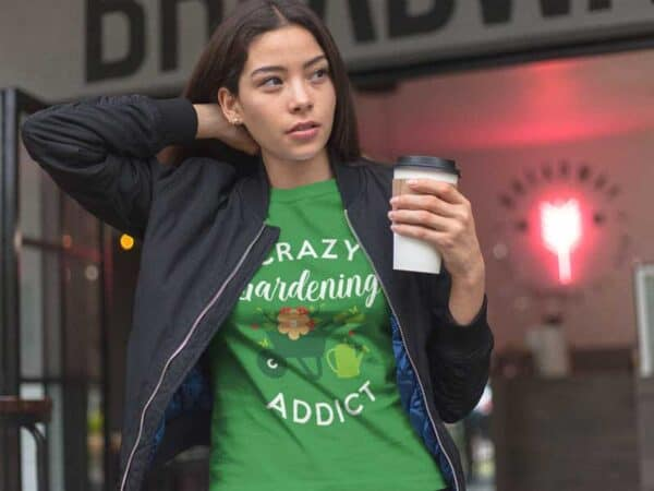 Crazy Gardening Addict Green Mens Shirt Woman Wearing