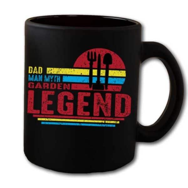 Dad Man Myth Garden Legend Black Coffee Mug