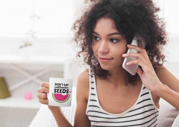Don't Eat Watermelon Seeds Garden White Coffee Mug Woman
