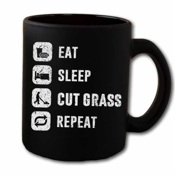 Eat Sleep Cut Grass Repeat Lawn Garden Black Coffee Mug