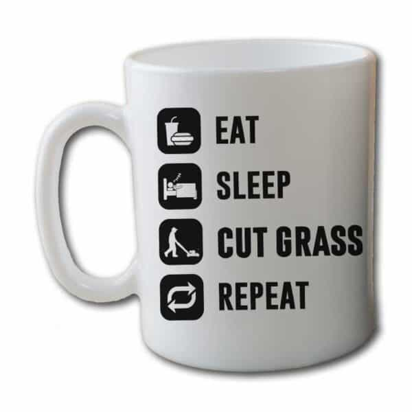 Eat Sleep Cut Grass Repeat Lawn Garden White Coffee Mug