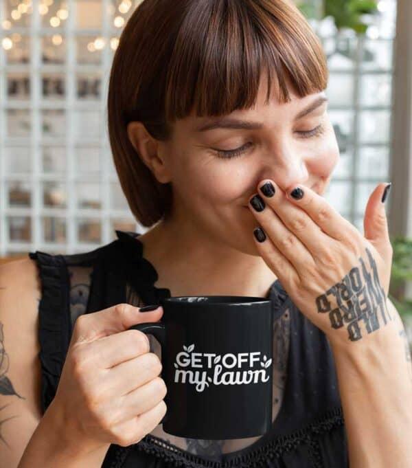 Get Off My Lawn Garden Black Coffee Mug Woman