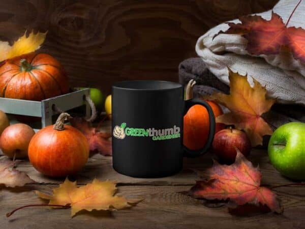 Green Thumb Gardener Garden Black Coffee Mug Leaves