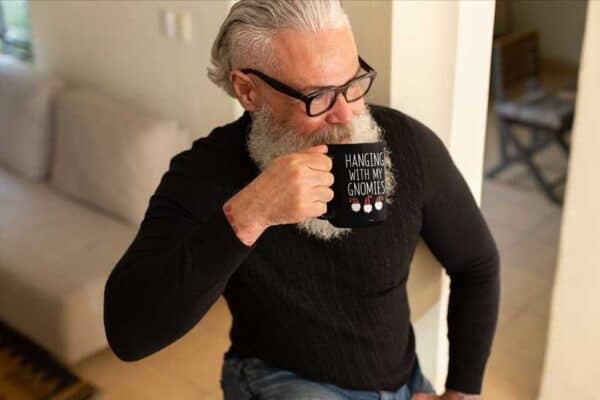 Hanging With My Gnomies Black Coffee Mug Ma