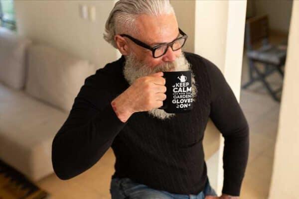 Keep Calm And Pull Weeds Black Coffee Mug Man