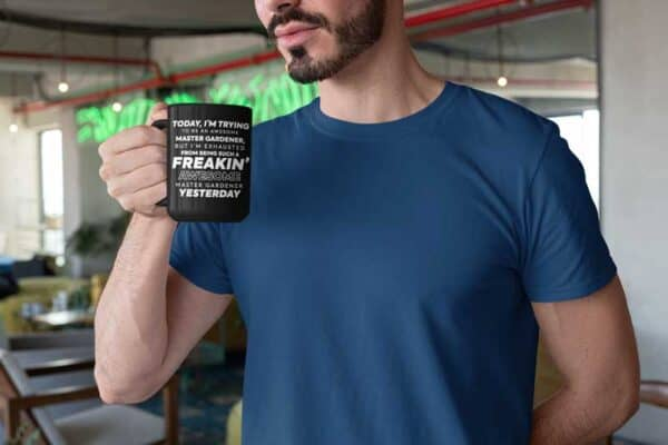 Freakin Awesome Master Gardener Black Coffee Mug Man