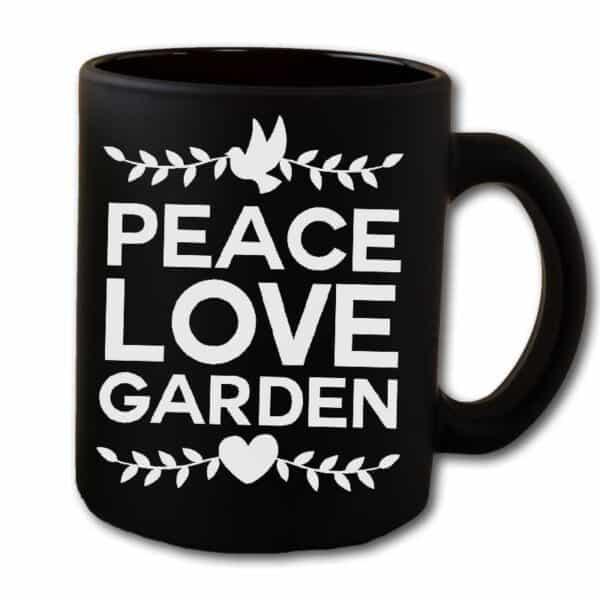 Peace Love Garden Black Coffee Mug