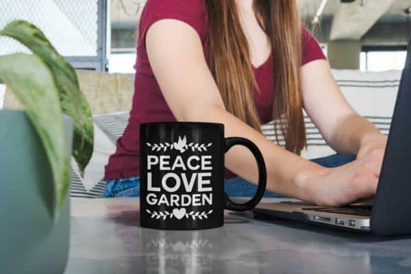 Peace Love Garden Black Coffee Mug Woman