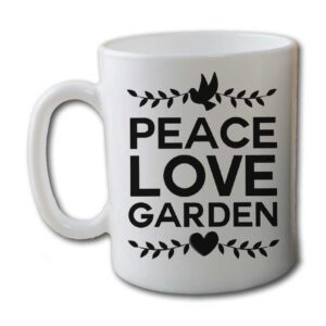 Peace Love Garden White Coffee Mug
