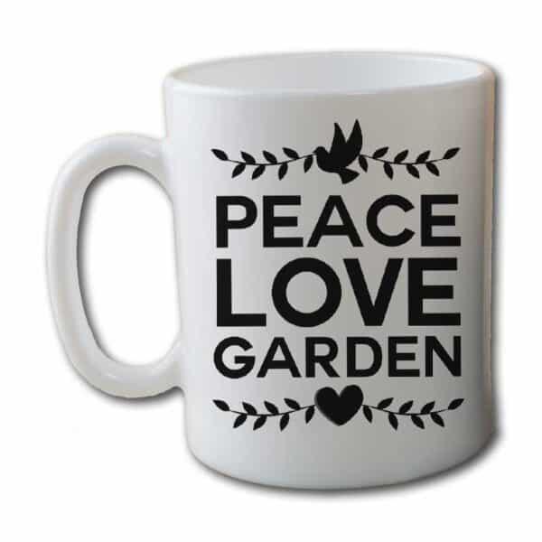 Peace Love Garden White Coffee Mug
