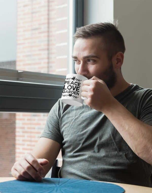 Peace Love Garden White Coffee Mug Man
