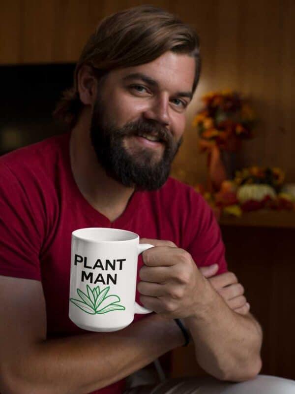 Plant Man White Coffee Mug Man