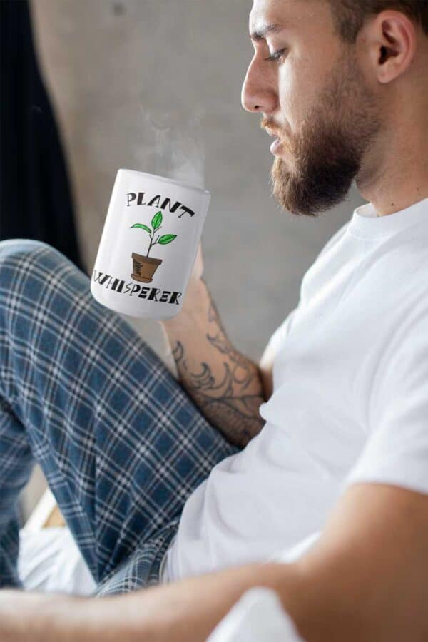 Plant Whisperer White Coffee Mug Man
