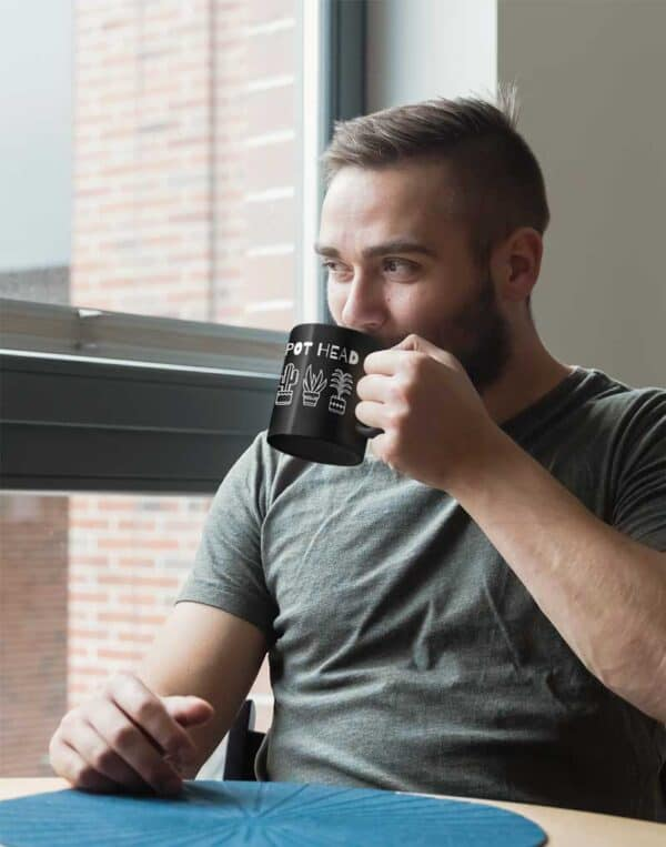 Pot Head Black Coffee Mug Man