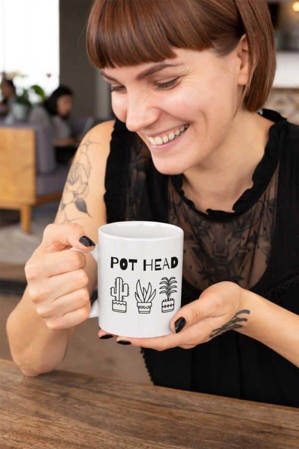 Pot Head White Coffee Mug Woman