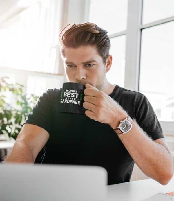 Worlds Best Naked Gardener Black Coffee Mug Man