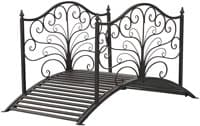 Outsunny 4' Metal Arched Backyard Decorative Garden Bridge - Black Bronze
