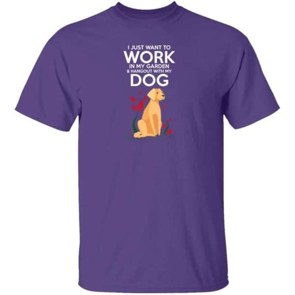 Work in The Garden & Hang With My Dog Mens T Shirt Purple