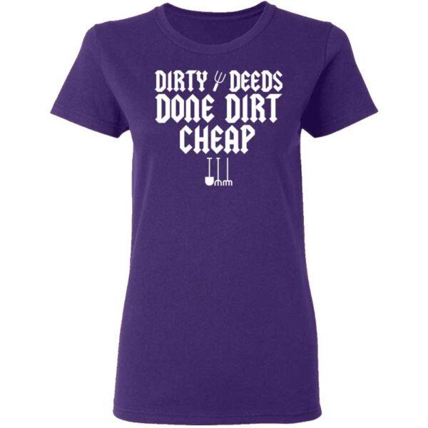 Dirty Deeds Done Dirt Cheap Womans T Shirt Purple
