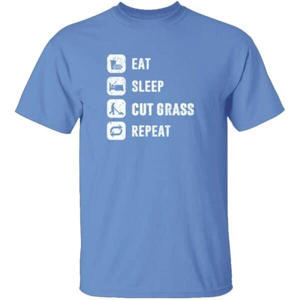 Eat Sleep Cut Grass Repeat Lawn Garden Mens T Shirt Carolina Blue