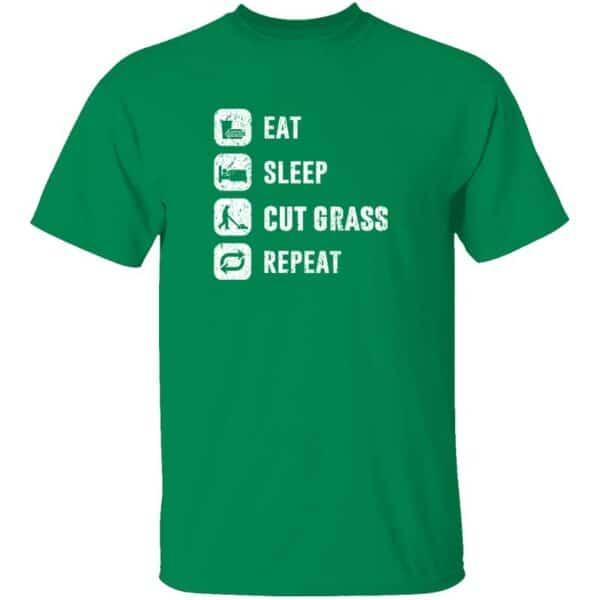 Eat Sleep Cut Grass Repeat Lawn Garden Mens T Shirt Turf Green