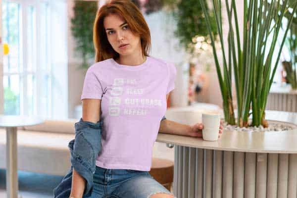 Eat Sleep Cut Grass Repeat Lawn Garden Womans T Shirt Light Pink Girl