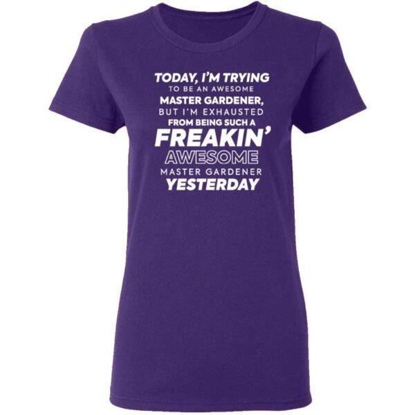 Freakin Awesome Master Gardener Womans T Shirt Purple
