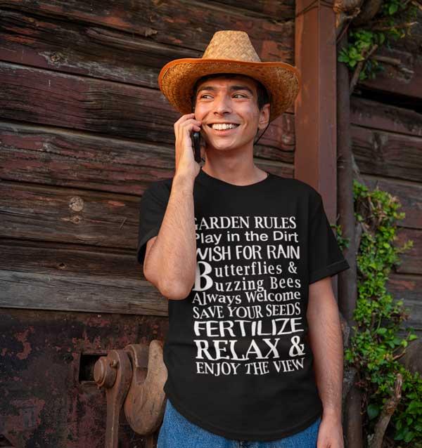 Garden Rules Play In The Dirt Butterflies & Bee Mens T Shirt Black Man