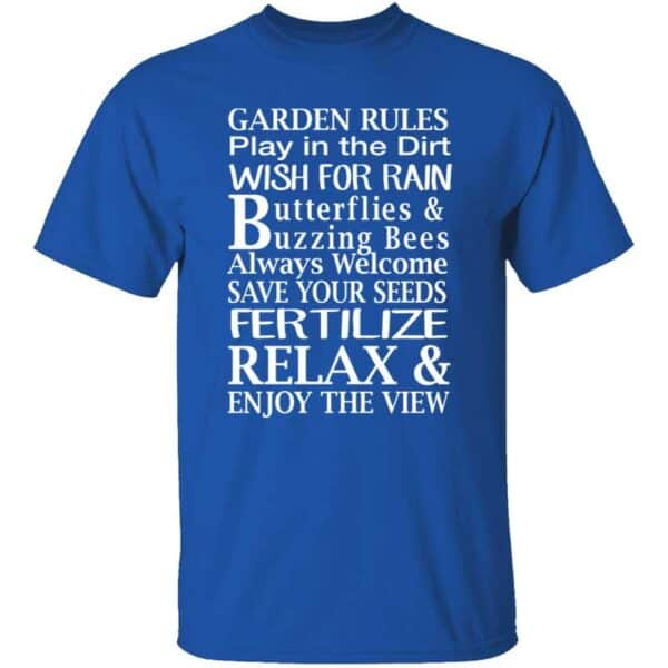 Garden Rules Play In The Dirt Butterflies & Bee Mens T Shirt Royal Blue