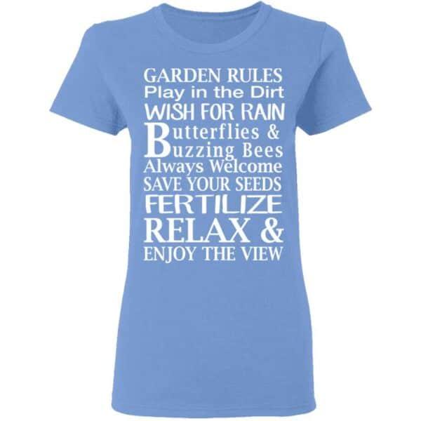 Garden Rules Play In The Dirt Butterflies & Bee Womans T Shirt Carolina Blue