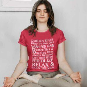 Garden Rules Play In The Dirt Butterflies & Bee Womans T Shirt Red Woman