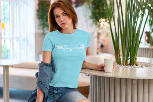 Gardener Heartbeat Plant Lover Womans T Shirt Carolina Blue Girl